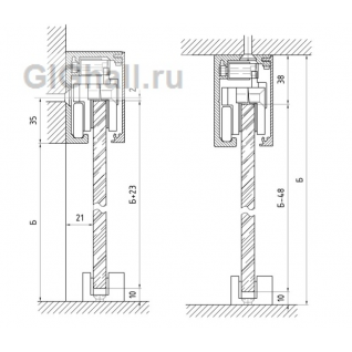 950-1 L=2500mm AL Комплект для раздвижной системы с плавным закрыванием