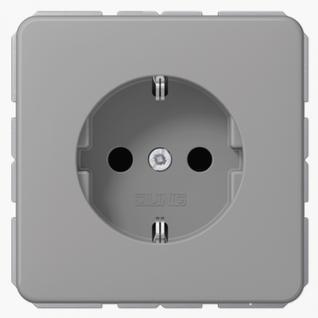 Розетка электрическая Jung CD1520BFGR SCHUKO 16A 250V~ с заземлением серая термопласт