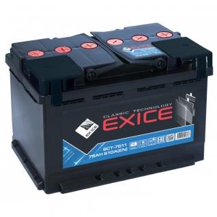 Аккумулятор EXICE Classic 6CT- 75N 75 Ач (A/h) прямая полярность - EC 7511 EXICE (ЭКСИС) 6CT- 75N