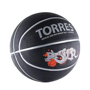 Мяч баск. Torres Prayer р. 7, резина, черно-серебристо-красный