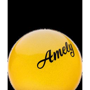 Мяч для художественной гимнастики Amely Agb-102, 15 см, желтый, с блестками