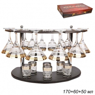 БАР набор для напитков 18 предметов Барокко / 410/134/22 ГН /уп1/ 6 мартини+6 рюмок+6 стопок