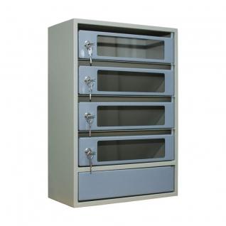 Шкаф антивандальный почтовый со стеклянными дверцами ШАП (с) 4 секции