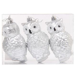 Набор из 3-х елочных украшений, 10,5 см, цвет-серебряный/ПВХ коробка 68681