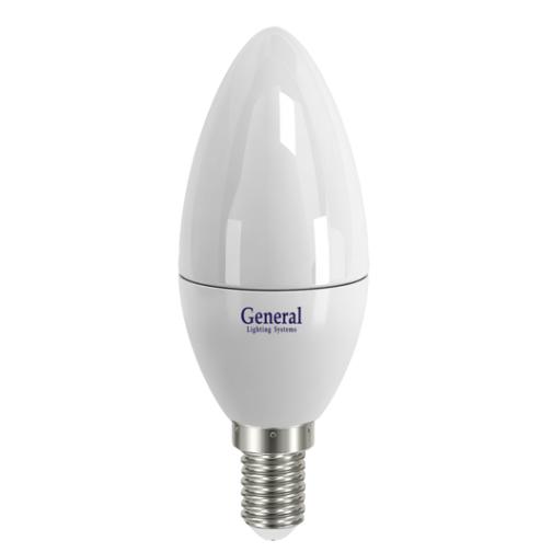 Светодиодная свеча 7W (Холодный белый) General ЭКО 714