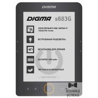 "Digma Электронная книга Digma S683G 6"" E-ink HD Carta 1024x758 Touch Screen/4Gb/microSDHC/frontlight серый 397357"