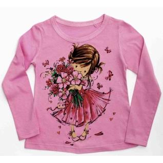 Лонгслив Девочка с цветами розовый