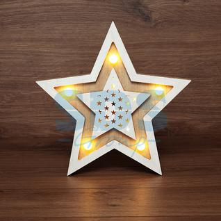 Neon-Night Деревянная фигура с подсветкой «Звезда двойная» 30х4х30 см