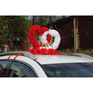 Два сердца на треугольнике, белый/красный