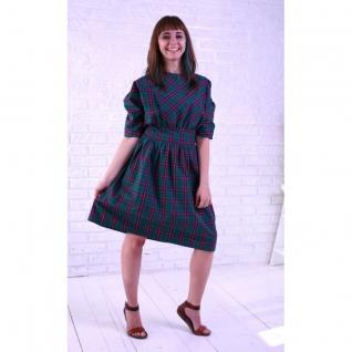 Платье Снегири (зеленая клетка)
