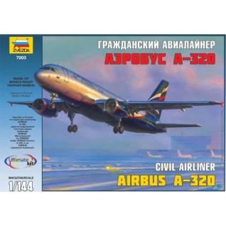 """Сборная модель """"Пассажирский авиалайнер Аэробус А-320"""", 1:144 Звезда"""