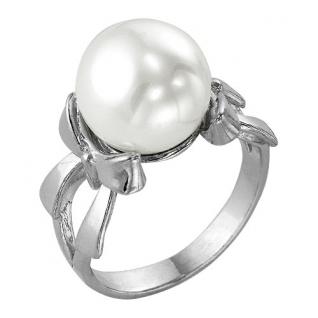 Кольцо из серебра с фианитом и жемчугом имитированным КРАСНАЯ ПРЕСНЯ 2362399 2362399 КРАСНАЯ ПРЕСНЯ