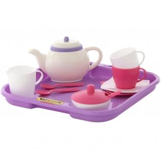 """Набор детской посуды """"Алиса"""" с подносом на 2 персоны (13 элементов) (в сеточке) Полесье"""