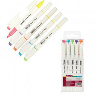 Маркер выделитель текста Attache Double 1-4 мм набор 6 цветов/5 маркеров
