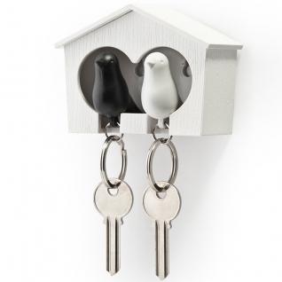 Держатель+брелок для ключей двойной Sparrow белый/черный