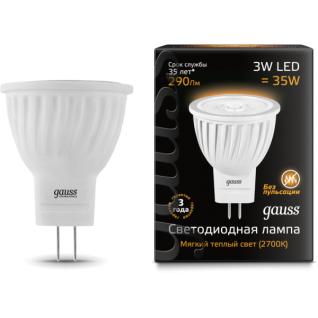 Gauss Лампа Gauss LED D35*45 3W MR11 GU4 2700K 1/10/100