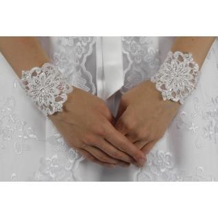 Перчатки свадебные №147, белый (короткие)