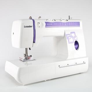 Leader VS318, Швейная машина, (электромеханическая швейная машина, освещение рабочей зоны, 22 швейные операции, полуавтоматическая обработка петли, обметочная строчка, рукавная платформа, отсек для аксессуаров)