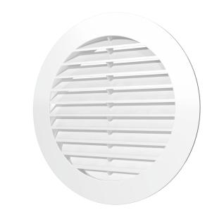 Решетка наружная вентиляционная круглая ERA 12РКН D150 с фланцем D100, ASA- пластик, белая