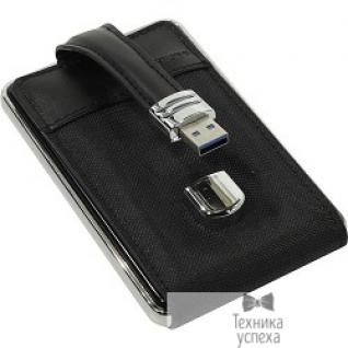 """Orient ORIENT 2564U3 Внешний контейнер, USB 3.0 для 2.5"""" HDD/SSD SATA 6Gb/s (ASM1153E), алюминий, кожаная отделка под """"кошелек"""", встроенный кабель """"застежка"""", черный цвет"""
