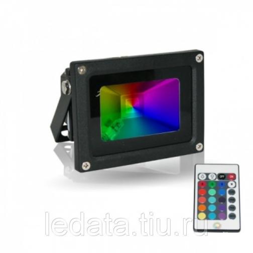 10W/RGB Светодиодный прожектор  RGB 10W Мультиколор, серый, + пульт Д/У, 220V 604