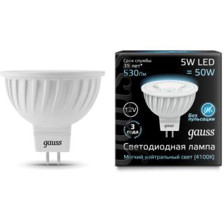 Gauss Лампа Gauss LED MR16 GU5.3 5W 12V 4100K 1/10/100