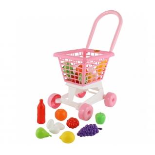 """Тележка """"Supermarket"""" №1 (розовая) + набор продуктов (в сеточке) Полесье"""