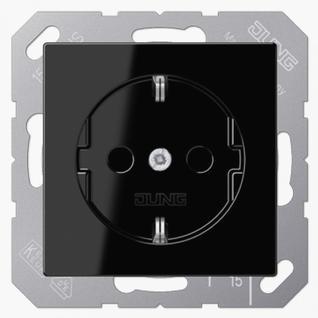 Розетка электрическая Jung A1520KISW SCHUKO 16A 250V~ со шторками с заземлением черная пластик