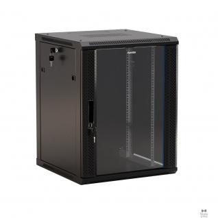 """Hyperline Hyperline TWB-0645-GP-RAL9004 Шкаф настенный 19-дюймовый (19""""), 6U, 367x 600х 450мм, стеклянная дверь с перфорацией по бокам, ручка с замком, цвет черный (RAL 9004) (разобранный)"""