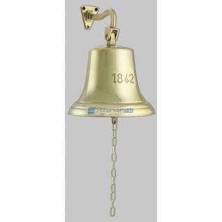 """Сувенирный колокол корабельный на кронштейне """"1842"""", d 18 см, цвет золото"""