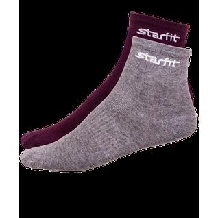 Носки средние Starfit Sw-206, бордовый/серый меланж, 2 пары размер 43-46