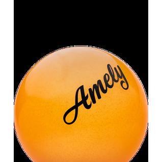 Мяч для художественной гимнастики Amely Agb-102, 15 см, оранжевый, с блестками