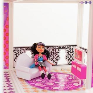 3-этажный кукольный дом (угловой) с 6 комнатами, мебелью, 3 куклами и велосипедом в наборе