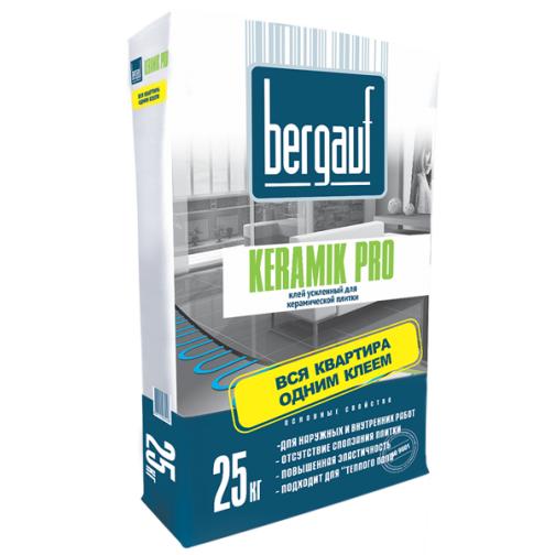 БЕРГАУФ Керамик Про клей плиточный (25кг) / BERGAUF Keramik Pro клей усиленный для керамической плитки (25кг) Бергауф 36984107