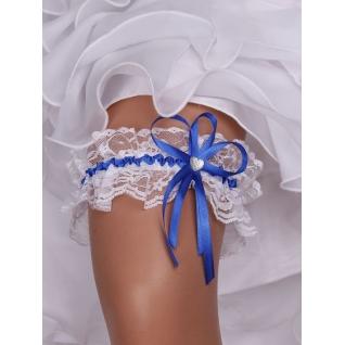 Подвязка невесты Кружево №01 (6 см), белый/синий