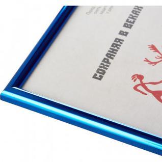 Рамка пластиковая 21x30 (A4) Синий металлик, с пластиком