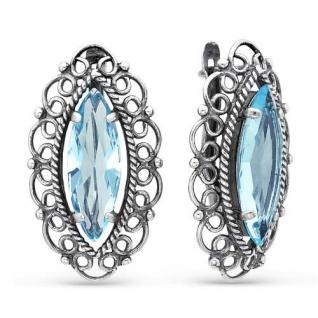 Серебряные серьги с фианитом и кварцем КРАСНАЯ ПРЕСНЯ 3362699-3