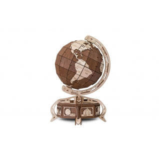 Сборные модели EWA Деревянный конструктор 3D Globe (глобус коричневый)