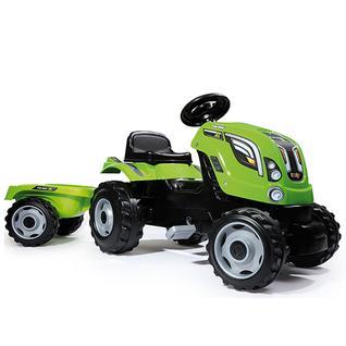 Детские веломобили Smoby Smoby 710111 Трактор педальный XL с прицепом, зеленый