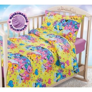 Комплект ясельного постельного белья с трикотажной простынёй Чудо-Пони, бязь