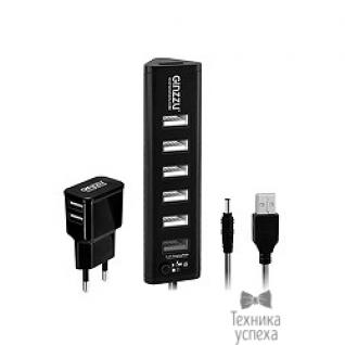 Ginzzu HUB GR-315UAB Ginzzu USB 3.0/2.0, 7 port(1xUSB3.0+6xUSB2.0)+adp