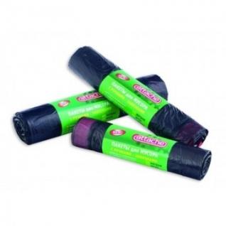Мешки для мусора ПВД 60л 58x66см 20мкм черные 20шт/рул с ручками Attache