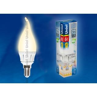 Uniel LED-CW37-6W/WW/E14/FR ALM01WH пластик
