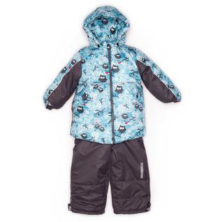 Комплект MalekBaby (Куртка + Полукомбинезон), Без опушки, №320/1 (Совы на голубом+черный) арт.409ШМ