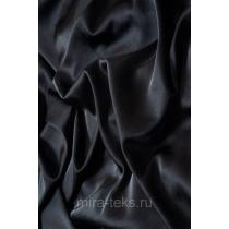 Атлас стрейч, ткань блузочно-плательная, заказ от 25 метров, цвет: черный