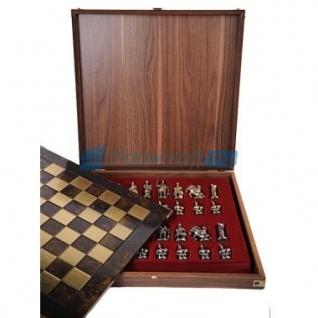 """Шахматы """"Эпоха возрождения"""" в кейсе (коричневая доска, фигуры золото-бронза), средние"""