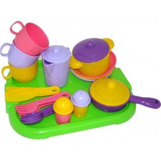 """Набор детской посуды """"Хозяюшка"""" с подносом на 3 персоны Полесье"""