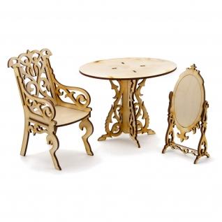 """Сборная деревянная модель мебели для кукол """"Туалетный столик"""" Теремок"""