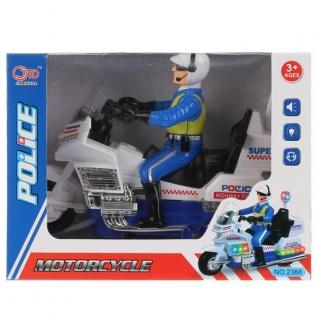 Мотоцикл полиция с фигуркой, на бат. свет+звук в кор. в кор.2*30шт