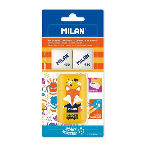 Ластик -точилка Milan Compact UNDERGROUND, блистер BYM10381 +2 ластика (ДС) 42471032 2